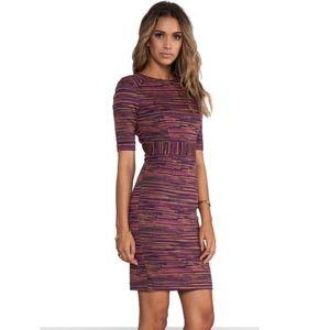 Trina Turk Ponte Jacquard Striped Dress Fitted XS